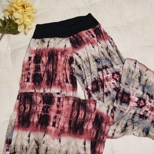 Pants - STRETCHY wide leg tie dye palazzo pants